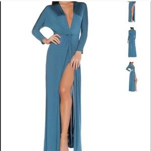 NEW teal Femme LA maxi dress w slit evening gown